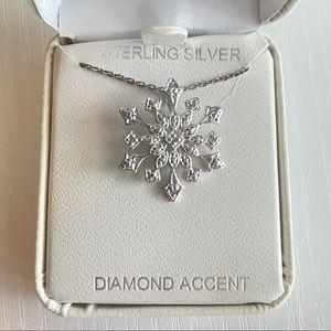 Sterling Silver Diamond Accent Snowflake Pendant